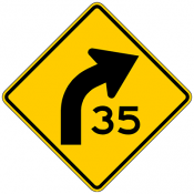 Curve with Speed Advisory