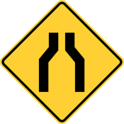 One lane road or road narrows