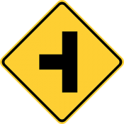 Side road at a perpendicular angle
