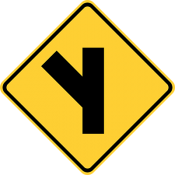 Side road at an acute angle