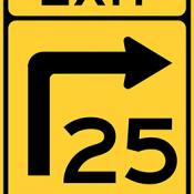 Turn curve exit speed advisory
