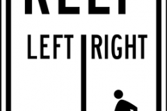Bicycles left pedestrians right