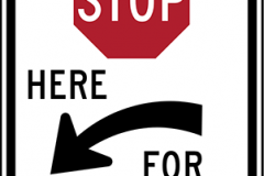 Stop here to pedestrians