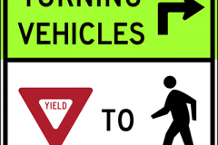 Turning vehicles yield to pedestrians