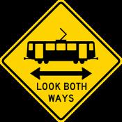Light rail crossing Look both ways