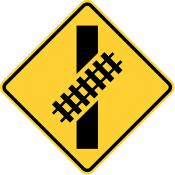 Skewed railroad crossing