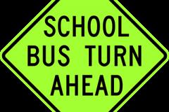 School bus turn ahead