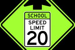 School speed limit ahead