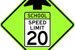 School speed limit ahead