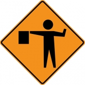 Flaggers in road ahead