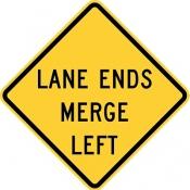 Lane ends merge left