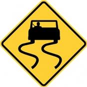 Road slippery when wet.